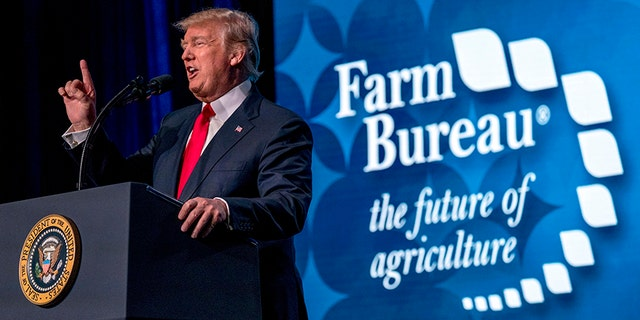 President Donald Trump speaks at the American Farm Bureau Federation's Annual Convention at the Gaylord Opryland Resort and Convention Center, Monday, Jan. 8, 2018, in Nashville, Tenn.