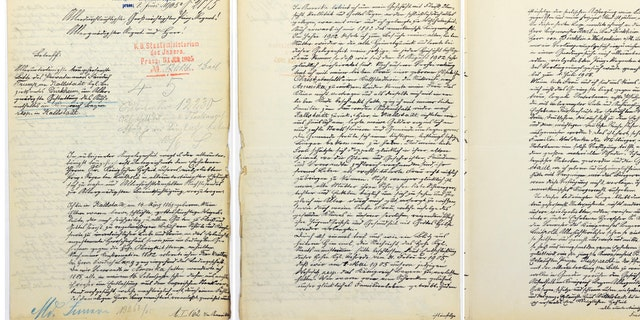 The reproductions provided by Landesarchiv Speyer show a letter by the grandfather of U.S. President-elect Donald Trump. The handwritten letter has been found in a German archive in which Donald Trump's grandfather unsuccessfully fought his expulsion from the country for failing to perform mandatory military service. (Landesarchiv Speyer via AP)