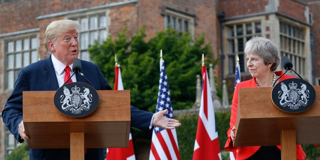 British Prime Minister Theresa May revealed Sunday that President Trump advised her to sue the EU.