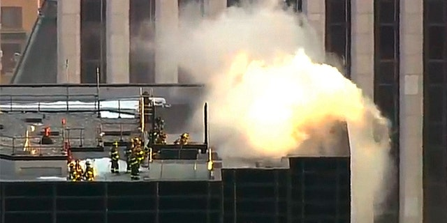 Fire broke out in a cooling tower on the roof of Trump Tower in midtown Manhattan.