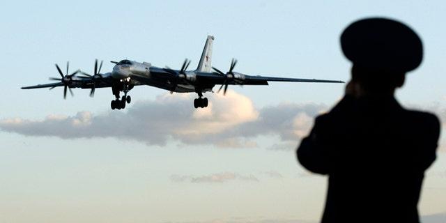 """Russian TU-95 """"Bear"""" bomber."""