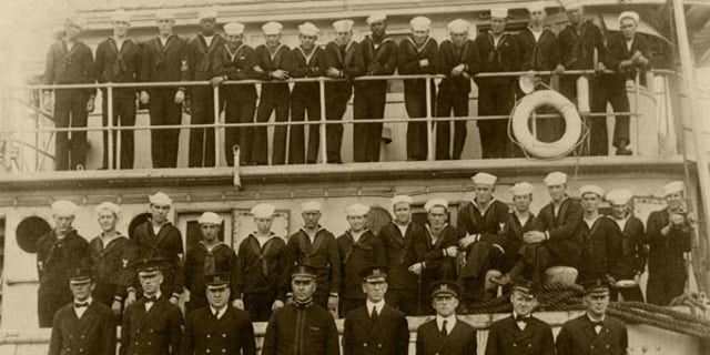 The officers and crew of USS Conestoga, in San Diego, California in 1921. Lost for 95 years, the tug was discovered in the Greater Farallones National Marine Sanctuary off San Francisco.