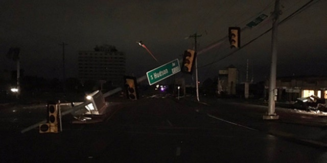 A traffic light is damaged after a possible tornado was reported in Tulsa, Oklahoma.