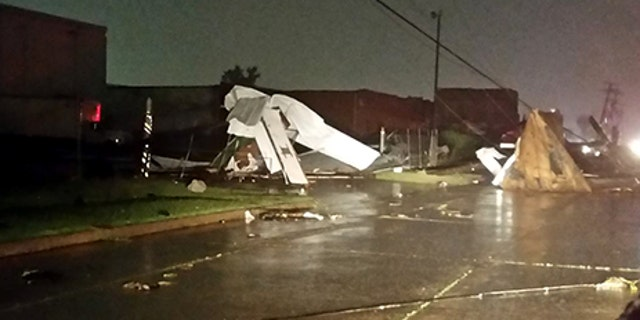 Damage to businesses after a possible tornado was reported in Tulsa, Oklahoma.