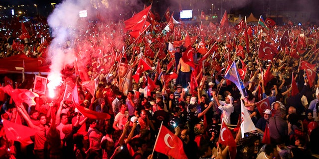 Following the 2016 coup attempt in Turkey, supporters of Erdogan swarmed the streets.
