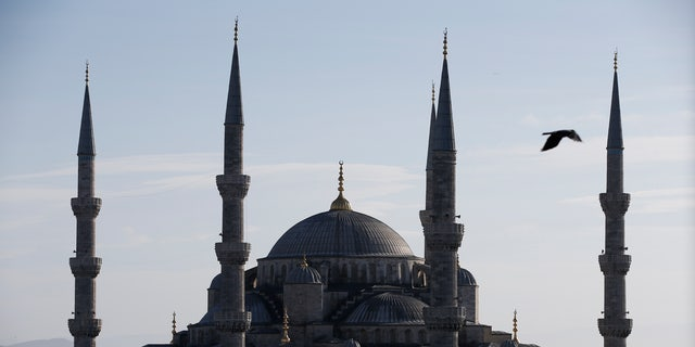 A view of the Sultan Ahmed Mosque, better known as the Blue Mosque.