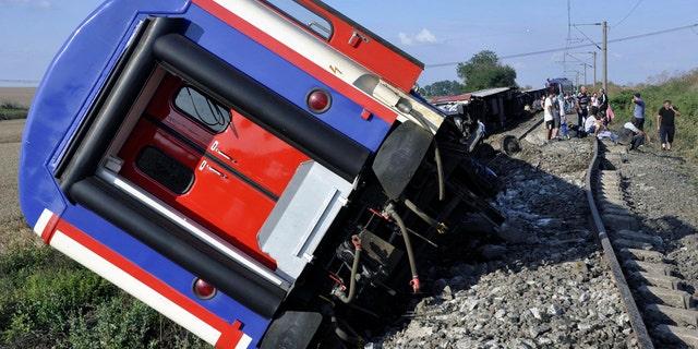 The train overturned near a village in Tekirdag province.