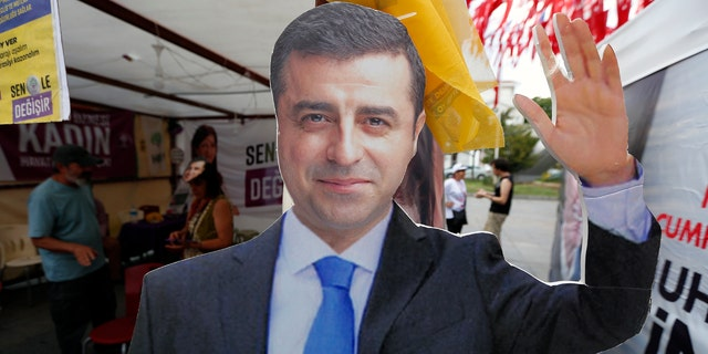 A cardboard cut-out of Selahattin Demirtas, who has campaigned for president from prison on terrorism-related charges.