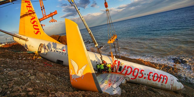 The Pegasus jet skidded off the runway at a Turkish airport Jan. 13 and plunged down the side of the cliff just a few feet away from the Black Sea.