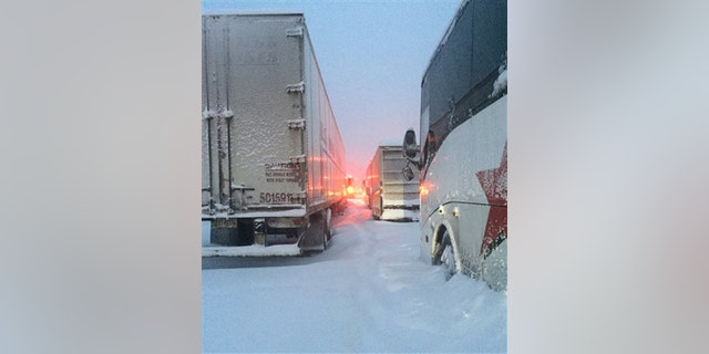 Traffic is stranded on the Pennsylvania Turnpike, I-76, in Somerset County, Pa. (AP)