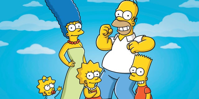 """Pictured: (l-r) Maggie, Marge, Lisa, Homer and Bart Simpson from the animated series, """"The Simpsons."""""""