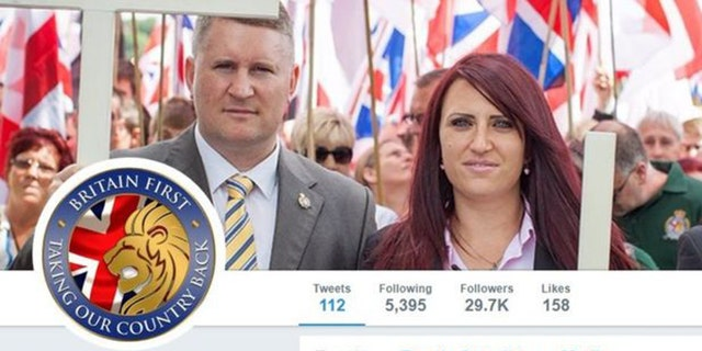 The main Twitter account of the far-right Britain First party was suspended on Monday, along with the accounts of its two leaders.