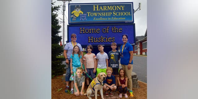 Jane Nagy is teaching language arts and math to students in grades 2-4 this year and her dog Hannon comes to school with her