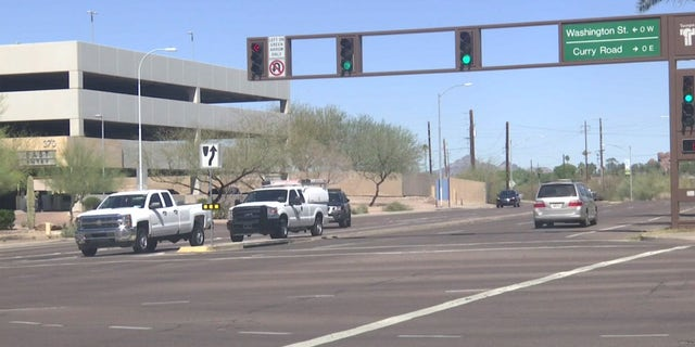 The intersection in Tempe, Arizona where a pedestrian was killed in a crash with a self-driving Uber vehicle.