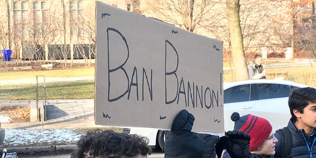 Dozens of demonstrators say they quickly organized the protest overnight after learning that Booth School of Business professor Luigi Zingales invited Bannon to appear on campus.