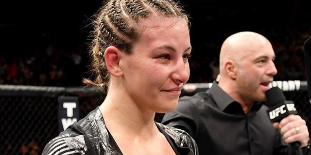 NEW YORK, NY - NOVEMBER 12: Miesha Tate of the United States reacts after her defeat to Raquel Pennington of the United States (not shown) in their women's bantamweight bout during the UFC 205 event at Madison Square Garden on November 12, 2016 in New York City. (Photo by Jeff Bottari/Zuffa LLC/Zuffa LLC via Getty Images)