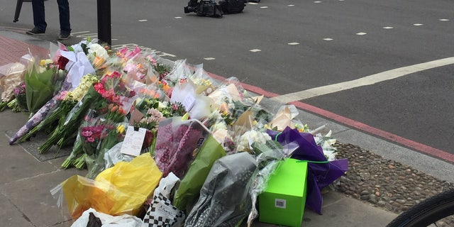 Flowers left at the site of the latest terror attack in London.