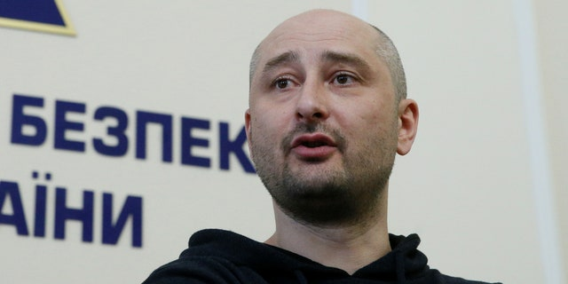Russian journalist Arkady Babchenko, who was reported murdered in the Ukrainian capital on May 29, speaks during a news briefing by the Ukrainian state security service in Kiev, Ukraine May 30, 2018