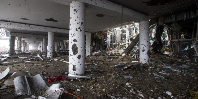 Jan. 21, 2015: The destroyed airport in Donetsk, eastern Ukraine is pictured.