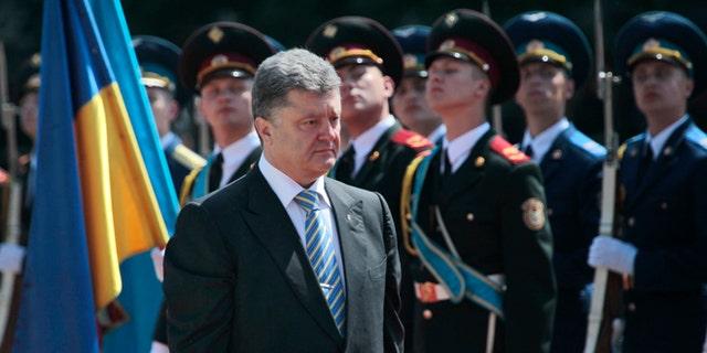 June 6, 2014: Ukrainian President Petro Poroshenko reviews an honor guard after the inauguration ceremony in Sophia Square in Kiev, Ukraine.
