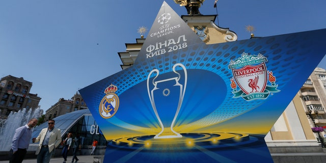The logo of the Champions League Final is seen at the Independence Square in Kiev, Ukraine, May 10, 2018. Picture taken May 10, 2018.