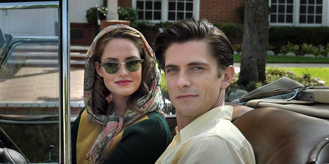 """Louis Zamperini (Samuel Hunt) and his wife Cynthia (Merritt Patterson) try to live the good life in post-war Florida, but Zamperini is haunted by his war experiences in """"Unbroken: Path To Redemption""""--in theaters September 14, 2018."""