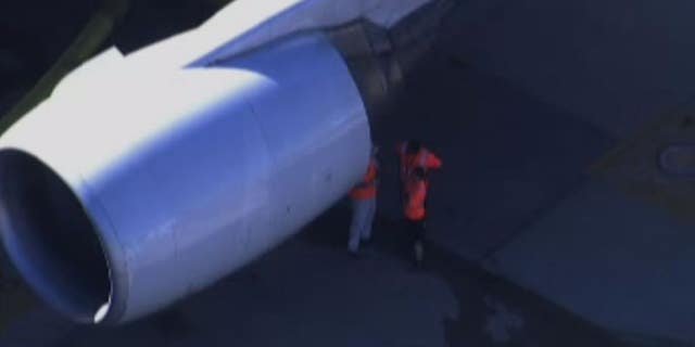 "Airport officials said ""preliminary reports indicate minor damage to the left aircraft engine casing."""