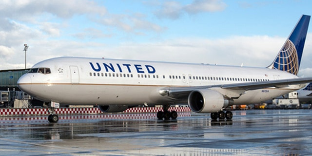A United Airlines Boeing 767-300/ER is seen at Zurich Airport in Switzerland.