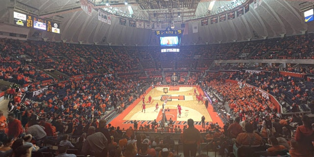 The University of Illinois basketball team plays at the State Farm Center in Champaign, Illinois.
