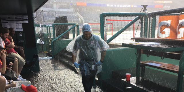 The Washington Nationals' dugout flooded Tuesday night ahead of the MLB All-Star Game.