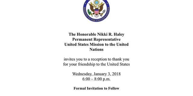 """Haley's email invitation (pictured) asks the nations who voted with the U.S. or abstained from the vote """"to a reception to thank you for your friendship to the United States."""""""
