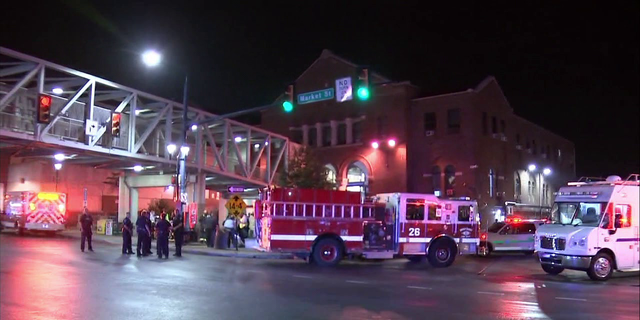 The scene after the train crash in suburban Philadelphia.