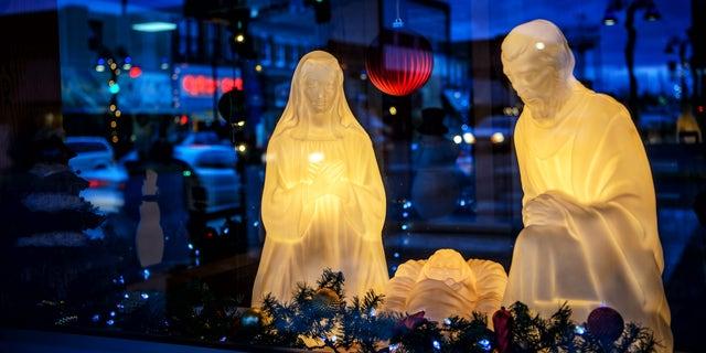 A nativity scene is displayed in Wadena, Minn., Thursday, Dec. 10, 2015. (Glen Stubbe/Star Tribune via AP) MANDATORY CREDIT