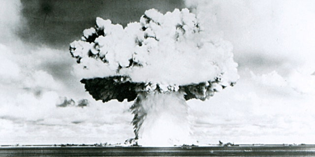 This U.S. Navy handout image shows Baker, the second of the two atomic bomb tests, in which a 63-kiloton warhead was exploded 90 feet under water as part of Operation Crossroads, conducted at Bikini Atoll in July 1946.