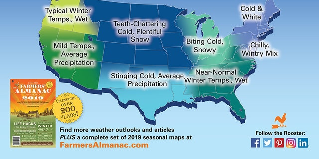 The winter forecast from The Farmers' Almanac.