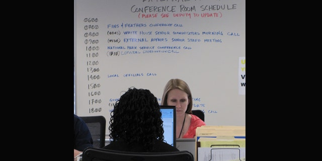 June 2010: U.S. Coast Guard's BP oil spill Unified Area Command Center in New Orleans.