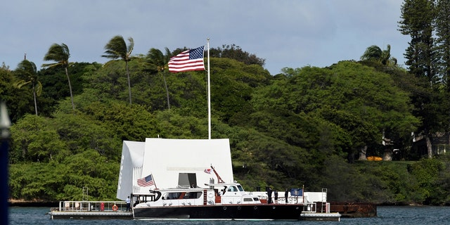 The USS Arizona Memorial at Joint Base Pearl Harbor-Hickam in Honolulu, Hawaii.