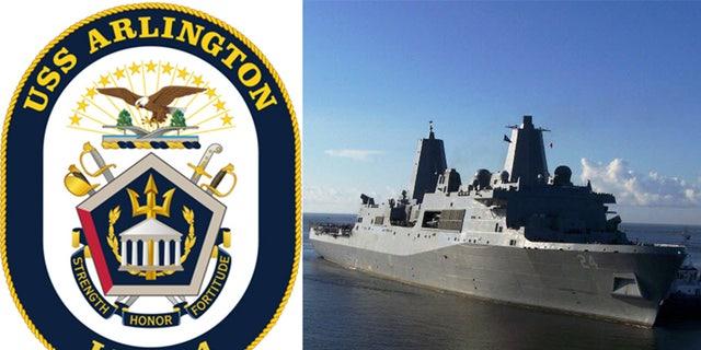 The USS Arlington's seal and the ship at sea.