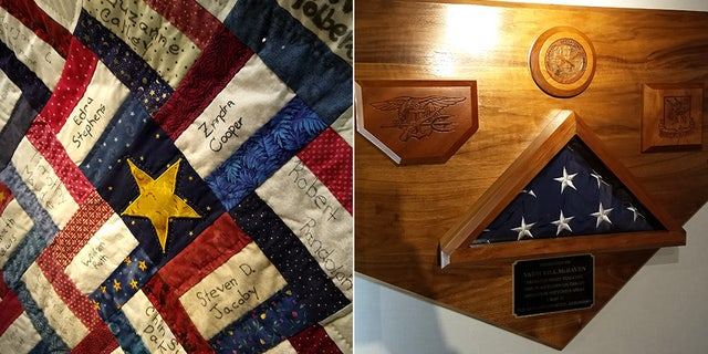 Two of the items in the USS Arlington's 9/11 tribute room. On the left is a quilt honoring the 184 who lost their lives on 9/11 at the Pentagon. On the right is the American flag flown over Usama bin Laden's compound in Pakistan after he was hunted down and killed by U.S. forces. The plaque that the flag is placed in is shaped like the perimeter of the former Al Qaeda leader's hideout.