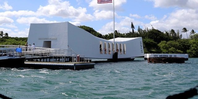 This Thursday, Sept. 21, 2017 file photo shows the USS Arizona Memorial in Pearl Harbor, Hawaii.