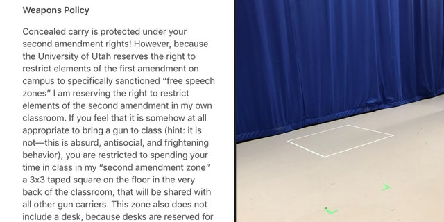 """A University of Utah teaching assistant was reprimanded for adding an anti-gun """"weapons policy"""" to her syllabus and putting a so-called """"Second Amendment zone"""" in the back of her classroom."""