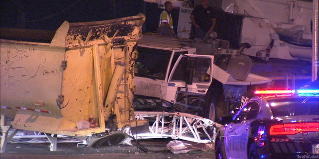 The driver of a truck died Sunday night after his vehicle crashed into a crane.