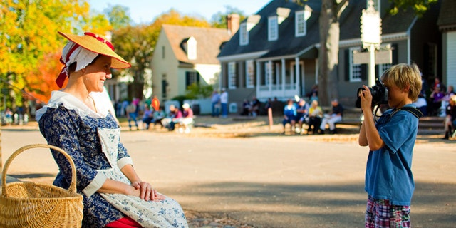 Taking a picture of life in Colonial Williamsburg.