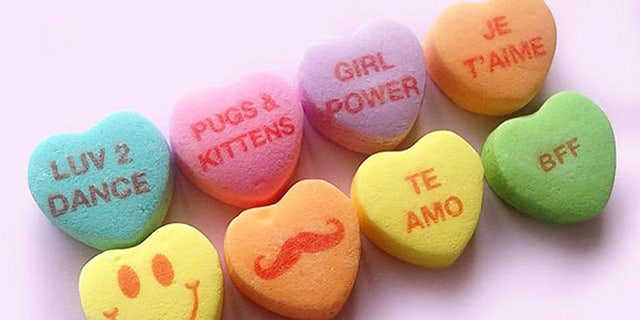 New candy heart phrases Te Amo, Pugs & Kittens, BFF and a mustached emojii.