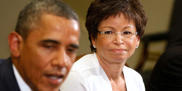 Barr apologized for a tweet she sent out about former Obama aide Valerie Jarrett (right).