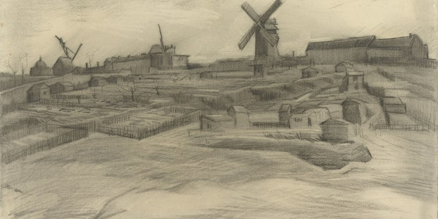 This image released by the Vincent Van Gogh Foundation on Tuesday Jan. 16, 2018 shows a drawing titled The Hill of Montmartre (1886). The drawing is housed at the Van Gogh Museum and shares an unmistakable connection to the newly-discovered van Gogh drawing in terms of subject, size, style, technique and materials. (Vincent Van Gogh Foundation via AP)