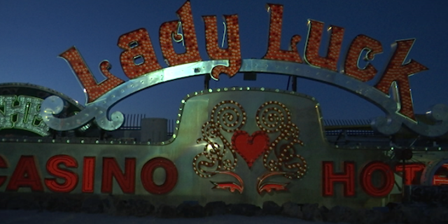 The Lady Luck casino and hotel's old sign waits to be revivified as digitial mapping projection through light will make it bright again