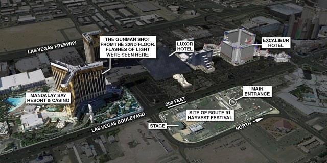 The scene of the shooting in Las Vegas.