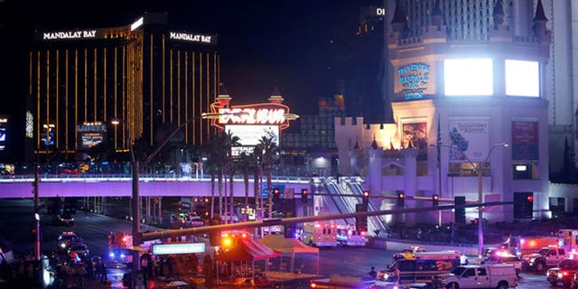 Outside Las Vegas' Mandalay Bay resort after the massacre on Sunday, October 1 that left 59 people dead, and more than 500 hospitalized.