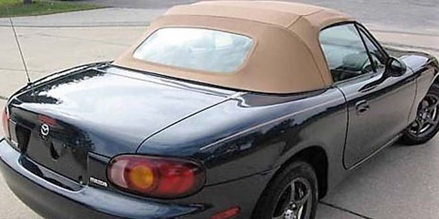This 2004 Mazda Miata convertible with a beige top is one of two vehicles police are searching for in the case.